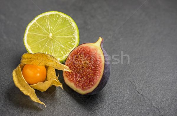 exotic fruits on slate plate Stock photo © Zerbor
