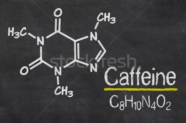 Iskolatábla vegyi képlet koffein technológia ír Stock fotó © Zerbor