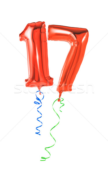 Red balloons with ribbon - Number 17 Stock photo © Zerbor