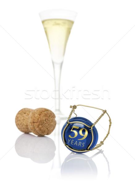 Szampana cap napis rok ślub urodziny Zdjęcia stock © Zerbor
