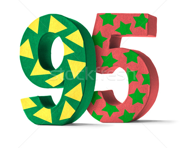 Colorful Paper Mache Number on a white background  - Number 95 Stock photo © Zerbor