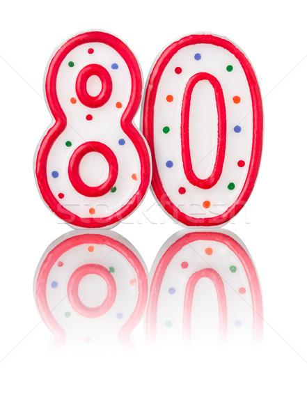 красный числа до 80 отражение дизайна знак Сток-фото © Zerbor