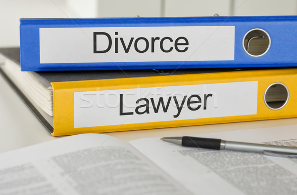 Stock photo: Folders with the label Divorce and Lawyer