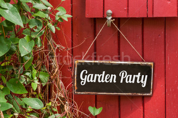 Old metal sign with the inscription Garden Party Stock photo © Zerbor