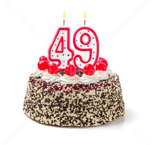 Birthday cake with burning candle number 49 Stock photo © Zerbor