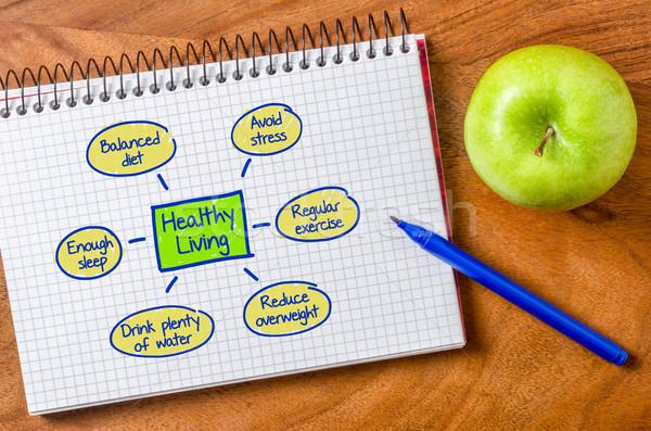 Здоровый образ жизни написанный блокнот служба воды яблоко Сток-фото © Zerbor
