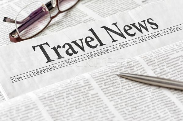 Stock fotó: újság · főcím · utazás · hírek · iroda · szemüveg