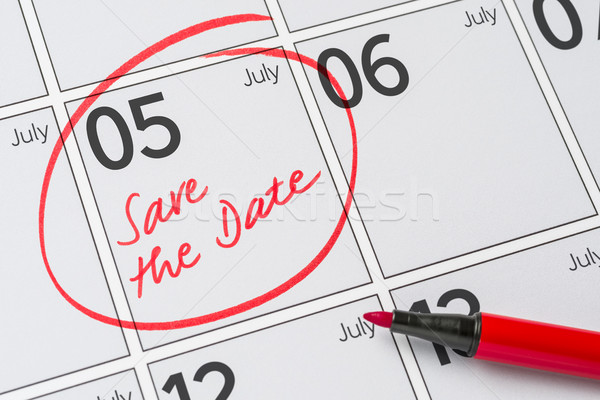 Save the Date written on a calendar - July 05 Stock photo © Zerbor