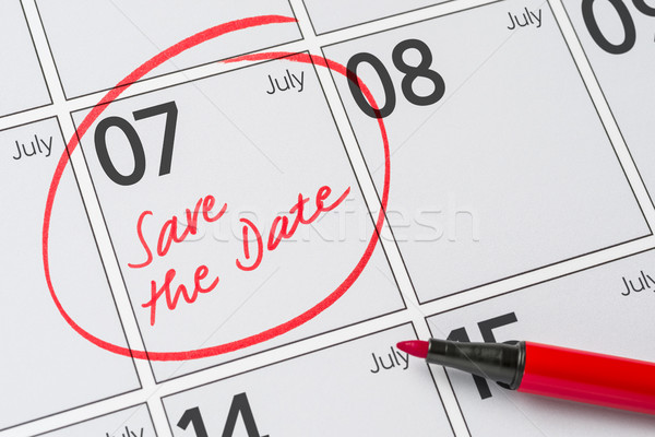 Save the Date written on a calendar - July 07 Stock photo © Zerbor