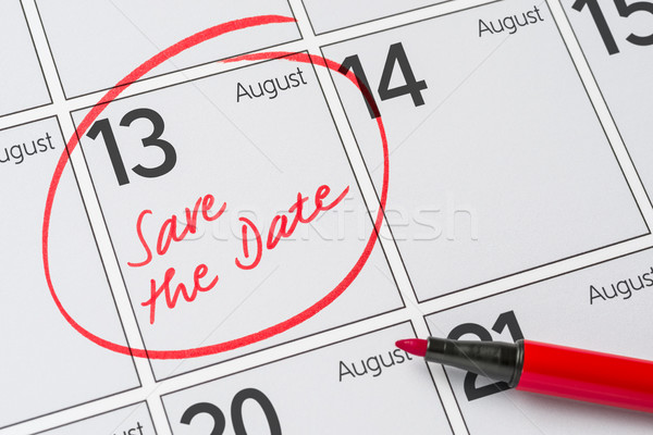 Foto stock: Guardar · fecha · escrito · calendario · agosto · 13