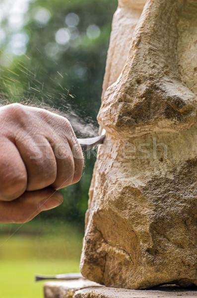 彫刻家 作業 石 彫刻 作業 砂 ストックフォト © Zerbor