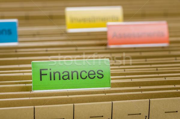 Hanging file folder labeled with Finances Stock photo © Zerbor
