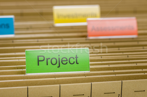 Hanging file folder labeled with Project Stock photo © Zerbor