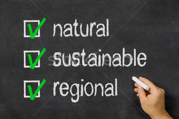 Natuurlijke duurzaam voedsel hand gezondheid schrijven Stockfoto © Zerbor