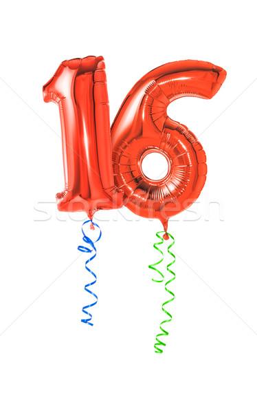 Rood ballonnen lint aantal 16 partij Stockfoto © Zerbor