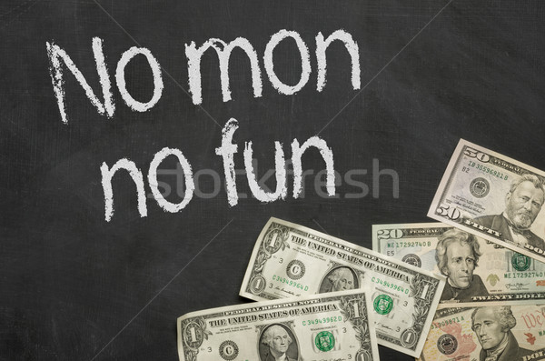 Text on blackboard with money - No mon no fun Stock photo © Zerbor