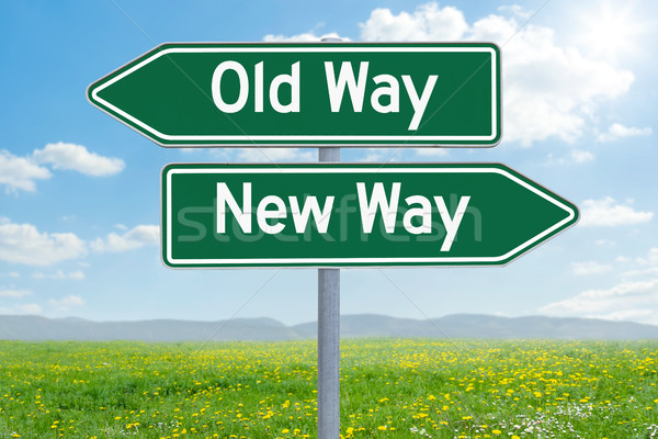 Two green direction signs - Old Way or New Way Stock photo © Zerbor