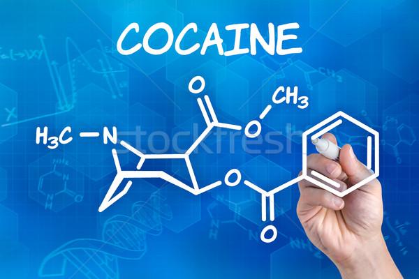 Mão caneta desenho químico fórmula cocaína Foto stock © Zerbor