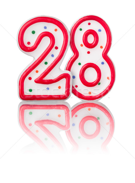 Red number 28 with reflection on a white background Stock photo © Zerbor