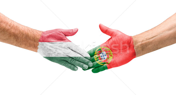 Football teams - Handshake between Hungary and Portugal Stock photo © Zerbor