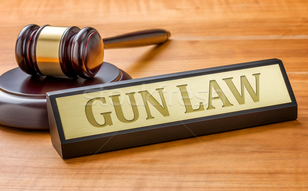 A gavel and a name plate with the engraving Gun Law Stock photo © Zerbor