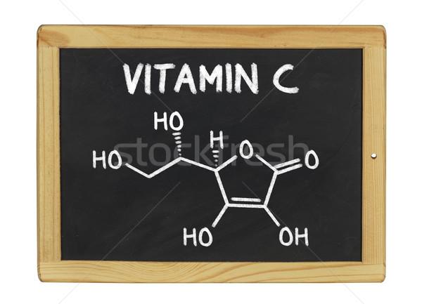 Vegyi képlet c vitamin iskolatábla iskola gyümölcs Stock fotó © Zerbor