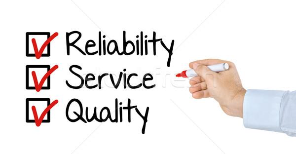 Liste fiabilité Ouvrir la qualité affaires main Photo stock © Zerbor