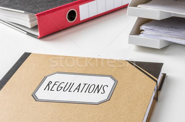 Dossier étiquette argent travaux droit bureau Photo stock © Zerbor