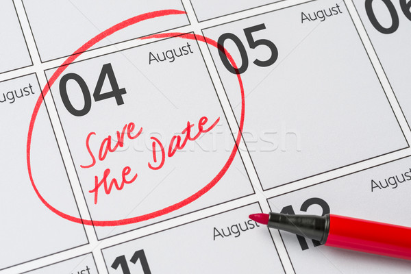 Save the Date written on a calendar - August 04 Stock photo © Zerbor