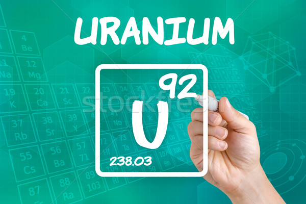 Szimbólum vegyi alkotóelem urán kéz technológia Stock fotó © Zerbor