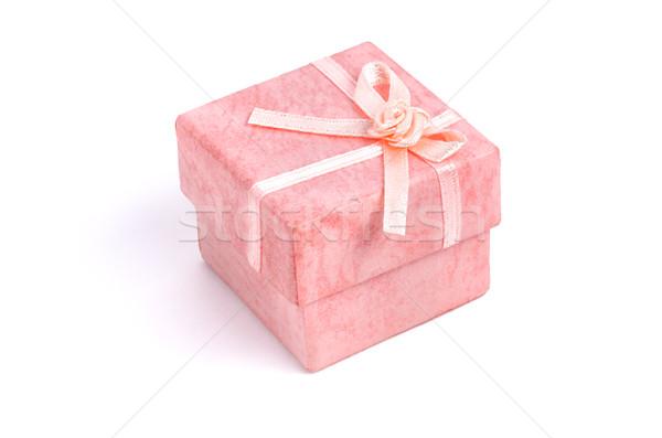 Rózsaszín ajándék doboz íj papír rózsa doboz Stock fotó © Zerbor