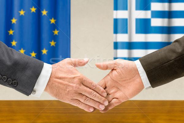 Grécia apertar a mão negócio mãos sucesso Foto stock © Zerbor