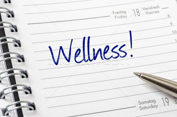 Wellness napisany kalendarza strona masażu czasu Zdjęcia stock © Zerbor