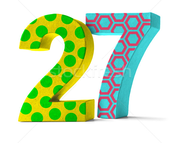 Colorful Paper Mache Number on a white background  - Number 27 Stock photo © Zerbor