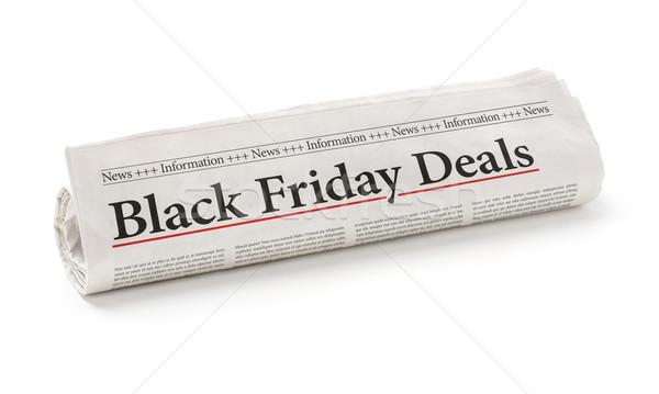 Stock fotó: Tekert · újság · főcím · black · friday · akciók · üzlet