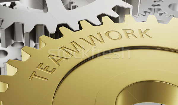 Metal gear wheels with the engraving Teamwork - 3d render Stock photo © Zerbor