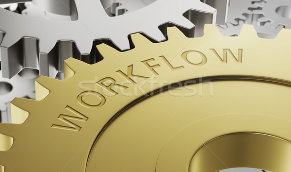Metal gear wheels with the engraving Workflow - 3d render Stock photo © Zerbor