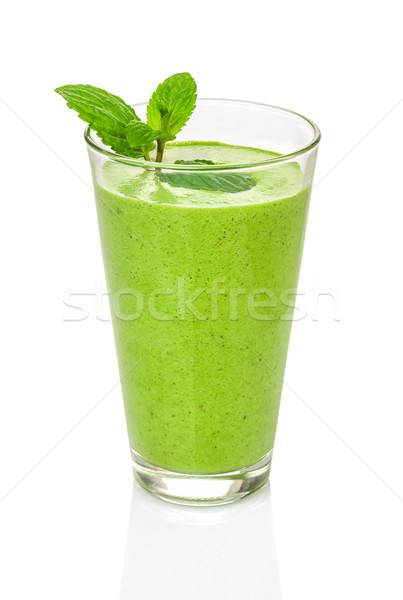 Stock fotó: Zöld · smoothie · menta · üveg · egészség · zöld · gyümölcsök