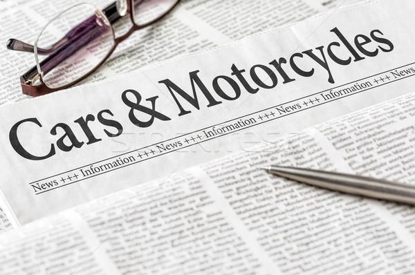 Jornal manchete carros motocicletas negócio notícia Foto stock © Zerbor