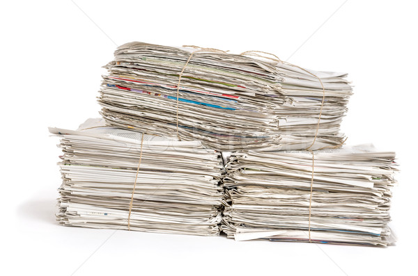 Bundles of newspapers on a white background Stock photo © Zerbor