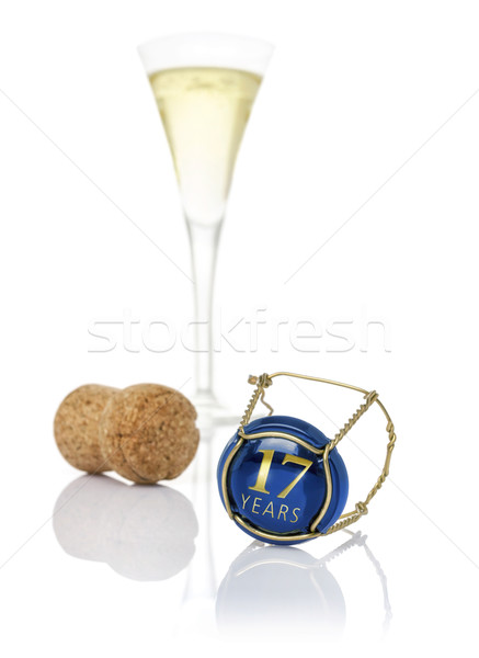 Champagne cap with the inscription 17 years Stock photo © Zerbor