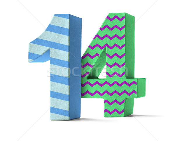 Colorful Paper Mache Number on a white background  - Number 14 Stock photo © Zerbor