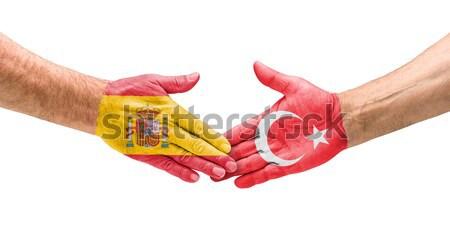 Futebol equipes aperto de mão Romênia Albânia mão Foto stock © Zerbor