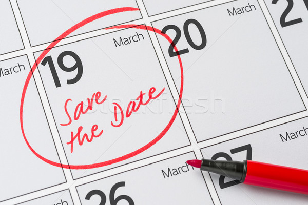 Save the Date written on a calendar - March 19 Stock photo © Zerbor