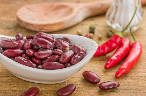 Kom nier bonen voedsel Rood beker Stockfoto © Zerbor