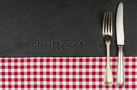 銀 スプーン プレート 赤 テーブルクロス ストックフォト © Zerbor