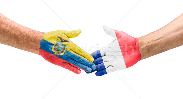 Stretta di mano Ecuador Francia mano riunione sport Foto d'archivio © Zerbor