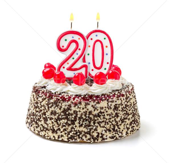 Birthday cake with burning candle number 20 Stock photo © Zerbor