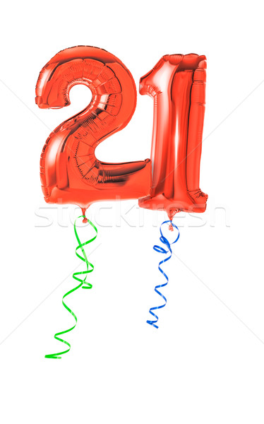 Red balloons with ribbon - Number 21 Stock photo © Zerbor