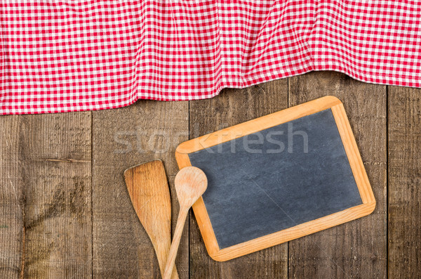 Pizarra cucharas rojo mantel Foto stock © Zerbor